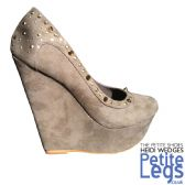 Heidi Platform Wedge Shoes in Mocha Suede Fabric with Gold Studs - Petite UK Size 3